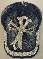 Denim Hat with Bling [Large Cross] Silver